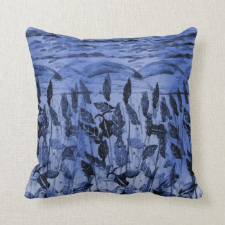 Blue Field Monoprint on Throw Pillow