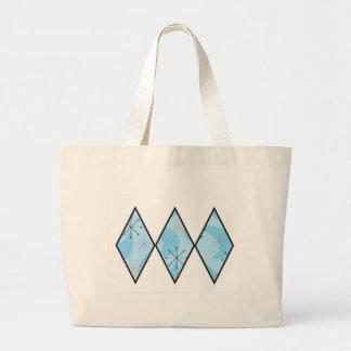 Blue Fifties Diamonds Large Tote Bag