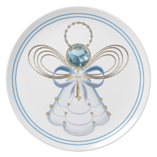 Blue Filigree Christmas Angel of Faith Plates