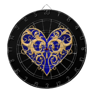 Blue Filigree Heart Dart Board