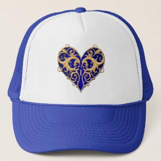 Blue Filigree Heart Hat