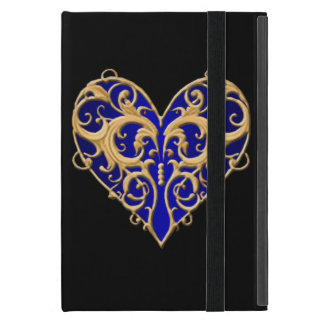 Blue Filigree Heart iPad Mini Case