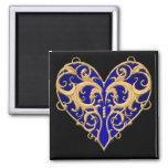 Blue Filigree Heart Magnet