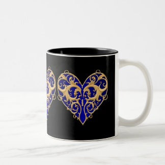 Blue Filigree Heart Mug
