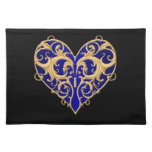 Blue Filigree Heart Placemat