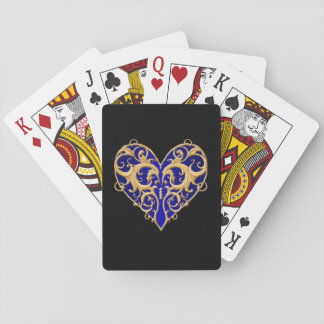 Blue Filigree Heart Playing Cards