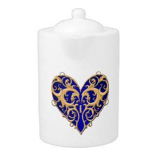 Blue Filigree Heart Teapot