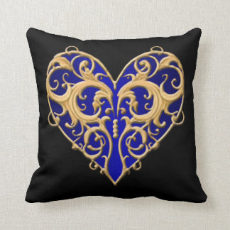 Blue Filigree Heart Throw Pillow