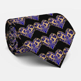 Blue Filigree Heart Tie