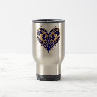 Blue Filigree Heart Travel Mug