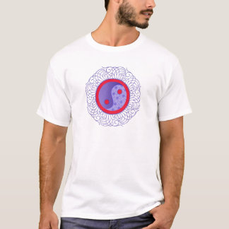 Blue Filigree Yin Yang T-Shirt
