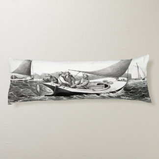 Blue Fin Tuna Fishing Sea Sailboats Body Pillow