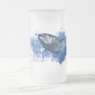 Blue fin tuna frosted beer glass frosted glass beer mug