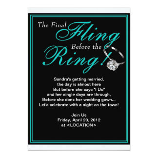 Blue Final Fling Bachelorette Party Invitation