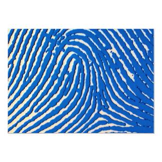 Blue fingerprint magnified personalized invitation