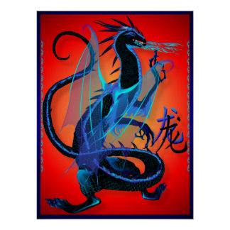 Blue Fire and Chinese Symbol Poster