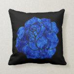 Blue Fire Rose Throw Pillow
