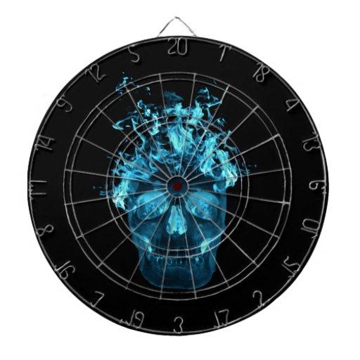 Blue Fire Skull Dart Board | Zazzle
