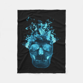 Blue Fire Skull Fleece Blanket