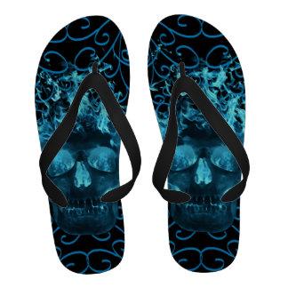 Blue Fire Skull Flip Flops