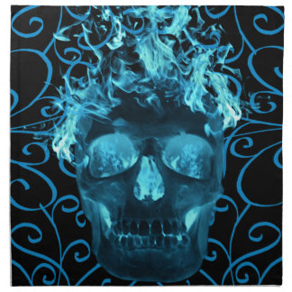Blue Fire Skull Napkin