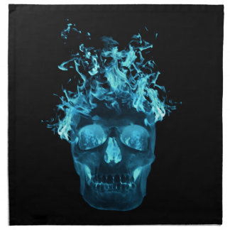 Blue Fire Skull Napkins
