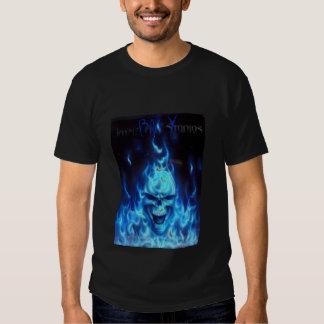 Blue Fire Skull Sign, Blue X T-Shirt