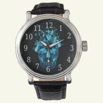 Blue Fire Skull Watch