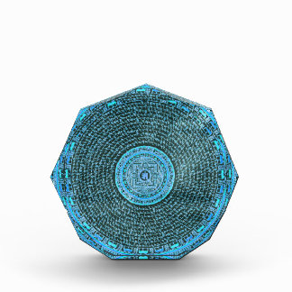 Blue Fire Tibetan Mandala Art (Turquoise & Black) Acrylic Award