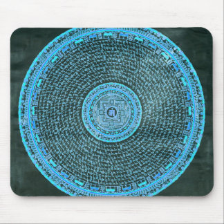 Blue Fire Tibetan Mandala Art (Turquoise & Black) Mouse Pad