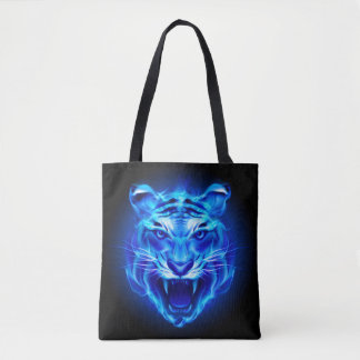 Blue Fire Tiger Face All-Over-Print Tote Bag