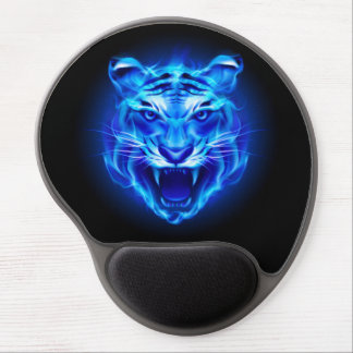 Blue Fire Tiger Face Gel Mouse Pad