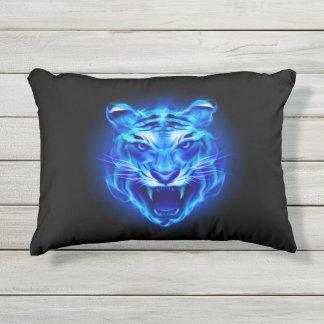 Blue Fire Tiger Face Outdoor Accent Pillow