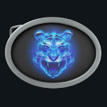 "Blue Fire Tiger Face Oval Belt Buckle<br><div class=""desc"">Blue Fire Tiger Face</div>"