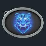 """Blue Fire Tiger Face Oval Belt Buckle<br><div class=""""desc"""">Blue Fire Tiger Face</div>"""