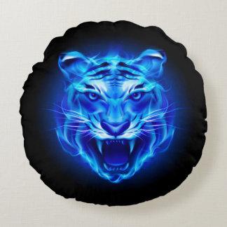 Blue Fire Tiger Face Round Pillow