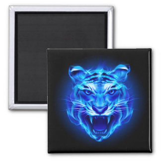 Blue Fire Tiger Face Square Magnet
