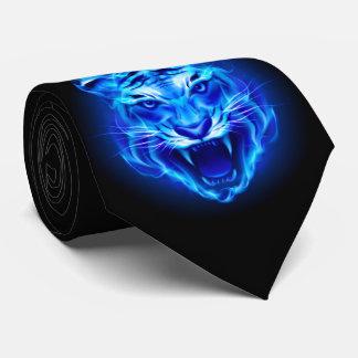 Blue Fire Tiger Face Tie