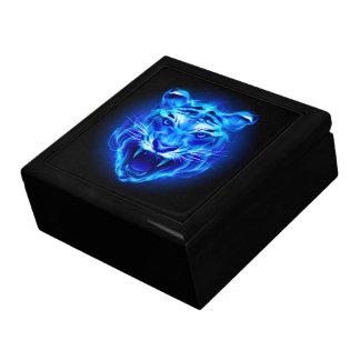 Blue Fire Tiger Face Trinket Box