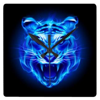 Blue Fire Tiger Face Wall Clock