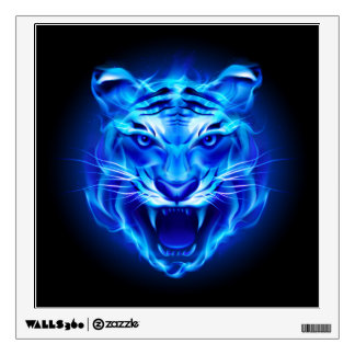 Blue Fire Tiger Face Wall Decal