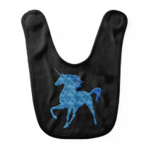 Blue Fire Unicorn Baby Bib
