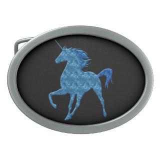 Blue Fire Unicorn Belt Buckle