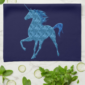 Blue Fire Unicorn Kitchen Towel