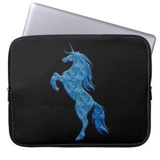 Blue Fire Unicorn Laptop Sleeve