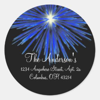 Blue Firework Return Address Labels - Round Classic Round Sticker