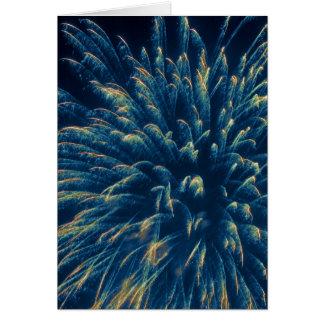 Blue Fireworks (3) Greeting Card