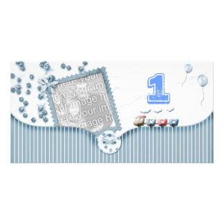 Blue First Birthday Photo Card