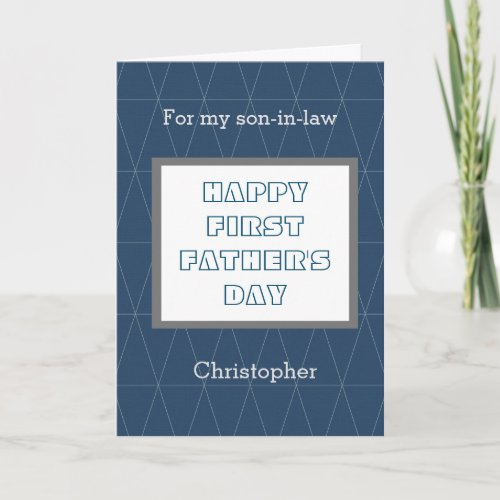 Blue First Fathers Day Son in Law Card