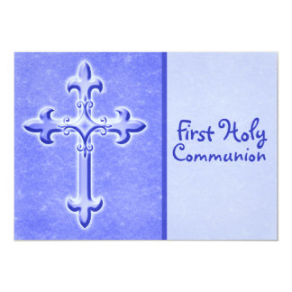 Blue First Holy Communion Invitation